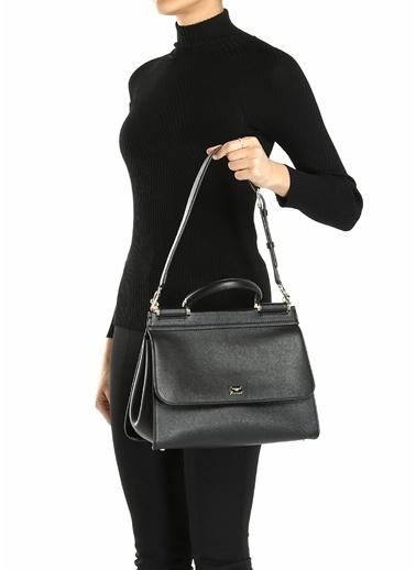 Dolce&Gabbana Dolce&Gabbana 101618924 Medium Sicily Kadın Klips Kapatmalı Deri Omuz Çantası Siyah